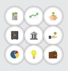 Flat icon gain set of billfold money box vector