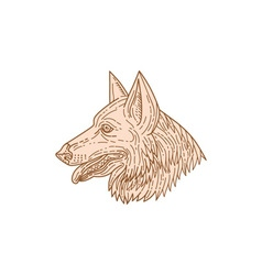 German shepherd dog head mono line vector
