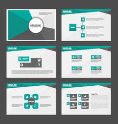 Green grey presentation templates infographic set vector