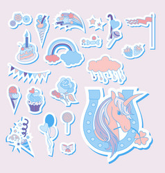 hand drawn holiday icons with rainbow unicorn vector image vector image