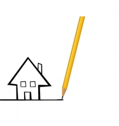 house drawing vector image