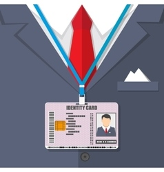 Man suit with red tie and id badge vector