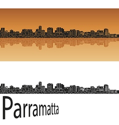 Parramatta skyline in orange vector image