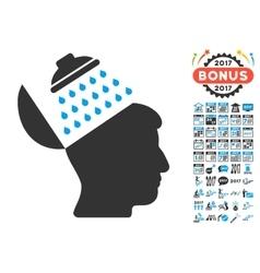 Propaganda brain shower icon with 2017 year bonus vector