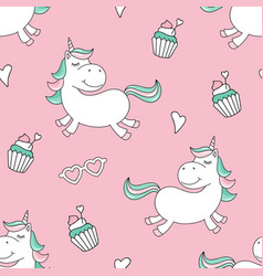 Seamless pattern with magical unicorn and cupcakes vector