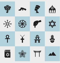 set of 16 editable faith icons includes symbols vector image vector image