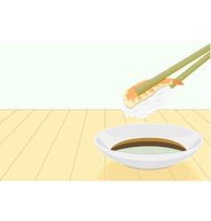 Shrimp sushi with chopstick and shoyu vector