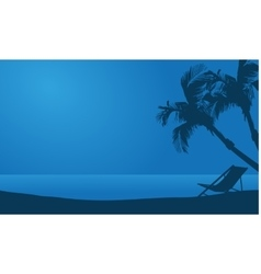 Silhouette of summer beach at night vector