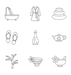 Spa icons set outline style vector