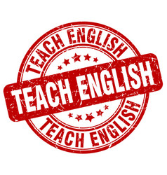Teach english red grunge stamp vector