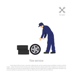 Tire service mechanic changing a car wheel vector