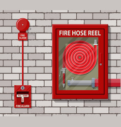 water hose in cabinet and alarm system vector image vector image