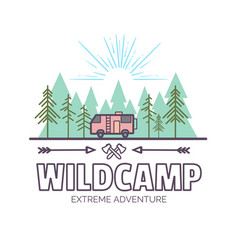 Wildcamp life summer extreme adventuretrendy vector