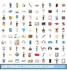 100 finance department icons set cartoon style vector image