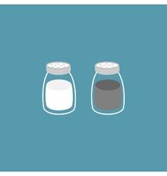 Salt pepper shaker glass container set flat design vector