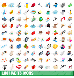 100 habits icons set isometric 3d style vector