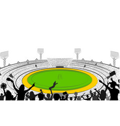 Stadium of cricket with pitch for champoinship vector