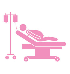 Color silhouette pregnant woman in stretcher vector