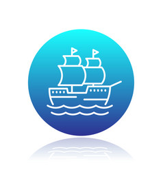 Sailing vessel line icon ship pictogram vector