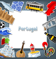 Portugal card with stickers portuguese national vector