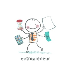 Entrepreneur holding a calculator money hourglass vector