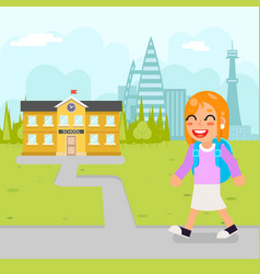 Girl school kid pupil education building student vector
