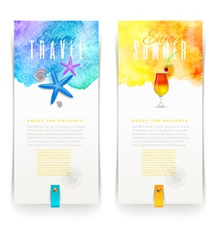 Summer and travel watercolor banners - vector