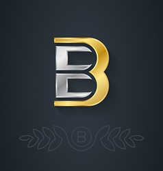 Elegant gold and silver font letter b template for vector