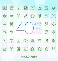 40 Trendy Thin Icons Halloween Set vector image