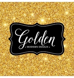 Label frame silhouette on the gold glitter vector