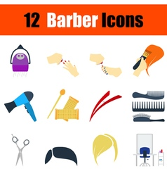 Flat design barber icon set vector