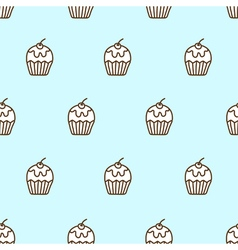 Seamless pattern of cute cupcake vector