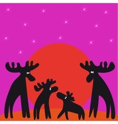 Family of moose sunset looking at stars vector