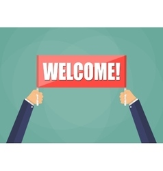 Hands holding plate with word welcome vector