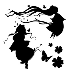 Collections of silhouettes a fairy vector