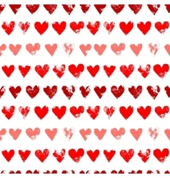 Red on white grunge hearts print seamless pattern vector