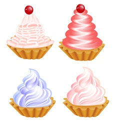 a set of delicious cakes on the white vector image vector image