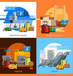 Airport interiors 2x2 flat design concept vector