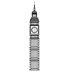 black and white big ben building graphic vector image vector image