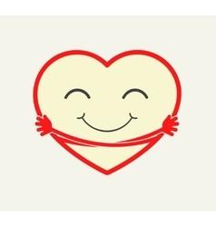 Cartoon heart hugging itself vector image vector image