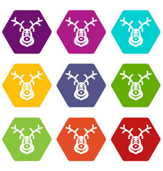 christmas deer icon set color hexahedron vector image
