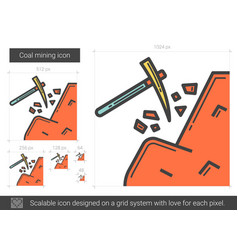 Coal mining line icon vector