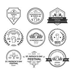 Collection of irish hand drawn logo templates vector