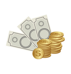color background with money bills and coins vector image vector image