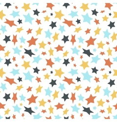 Colored flat stars on white seamless pattern vector image vector image