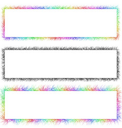 Colorful and monochrome sketch banner frame set vector