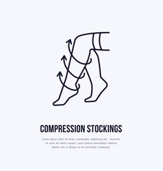 Compression stockings icon line logo flat sign vector