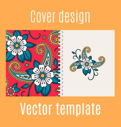 Cover design with floral indian pattern vector