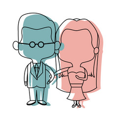 Cute cartoon wedding couple holding hand vector