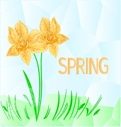 Daffodil polygons mosaic spring background vector image vector image